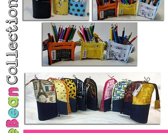 2 Tone Zippered Pencil Cup Pencil Case Sewing Pattern Download