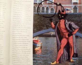 Bookmark with cat and cat: cat dressed in Pantaloon, the Italian commedia dell'arte character ' arte