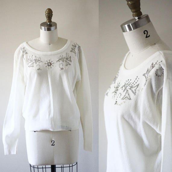 1970s white beaded sweater // vintage sportswear // vintage womens