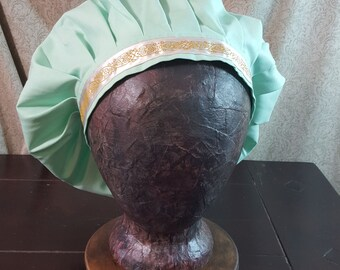 Medieval Caul in Light Mint Green, Muffin Hat Cap, Renaissance Costume, Floppy Hat, Mob Cap, SCA LARP, Peasant Garb, Head Covering