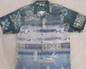 TOMMY BAHAMA Shirt Hawaiian Shirt Silk Shirt Copyrighted Print Hibiscus Tribal Tiki Aloha Shirt Mens Relax Fit - L - Oahu Lew's Shirt Shack