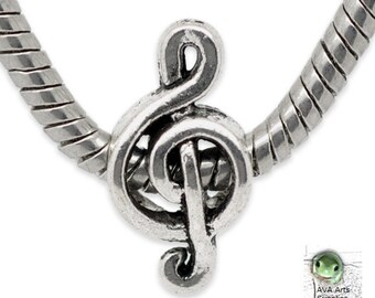 Treble Clef, Music Bead, 18x9mm, 4.7 mm, Music Charm, European Music Bead, Treble Clef Bead, European Bead, Large Hole Bead, Bulk Discount