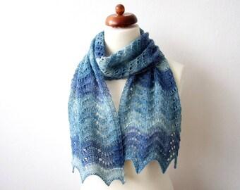 blue lace scarf, handknit wavy scarf