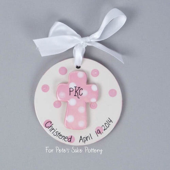 Baptism Ornament Cross Ornament Girl Baptism Ornament Girl: Girl Christening Gift Baptismal Ornament Dedication Gift