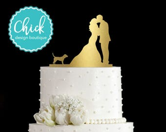 Beagle Dog Wedding Cake Topper Hand Painted in Metallic Paint with Couple Kissing