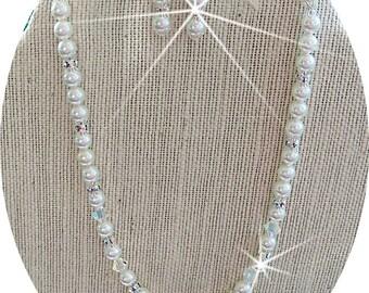 Bridal Jewelry Set, Necklace, Earrings, Pearls, Crystals, Rhinestones,  Wedding Jewelry, Bridal Accessories, Glitz, Bride, Wedding