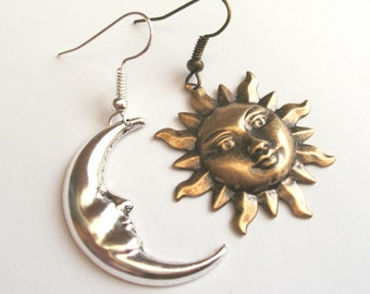 Mismatched Earrings, Sun and Moon Earrings, Drop Earrings, Antique Gold Sun, Silver Moon, Choice of Ear Wires