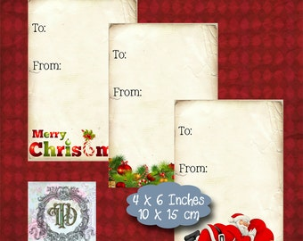 6 Christmas Gift Tags Set 2