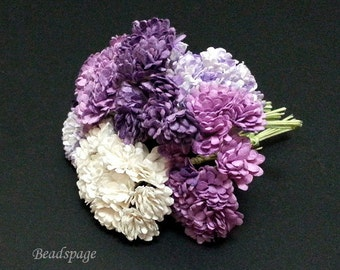 Miniature Flower Bouquet - Sweet Purple Lilac Petite Shabby chic, 1/12 scale ~ 1/6 scale Dollhouse Diorama Roombox Wedding DIY craft