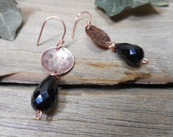 onyx earrings, copper dangles, handmade copper jewelry, onyx and copper jewelry, rustic copper jewelry, rustic jewelry, gemstone earrings