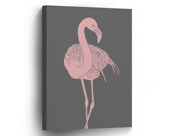 CANVAS PRINT  Flamingo Grey Background Digital Painting / Home Decor / Wall Art / Pink / Artwork / Decoration /Picture