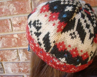 Warm Winter Beanie Hat made from Recycled Wool - Large - Euro 141C
