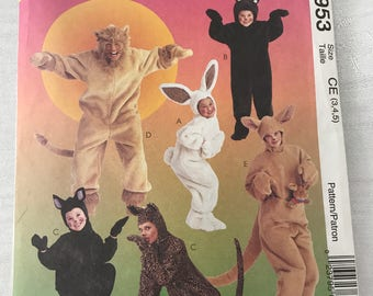 McCall's 8953 Costumes Pattern, Kid's 3, 4, 5, UNCUT, Bunny, Bear, Cat, Lion and Kangaroo