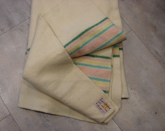 Vintage MacAUSLAND P.E.I. 100% Virgin Twin Size WOOL BLANKET Pastel Stripes 81 X 63