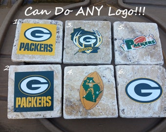 Green Bay Packers Coasters Packers Coasters Football Coasters Custom Coasters Stone Coasters Ceramic Coasters Mancave Coasters Gift for Men