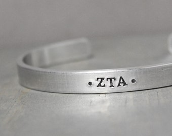 Zeta Tau Alpha Cuff, Sorority Jewelry, Zeta Tau Alpha Jewelry, Hand Stamped Jewelry, Hand Stamped Cuff, Personalized Gift, Licensed Sorority