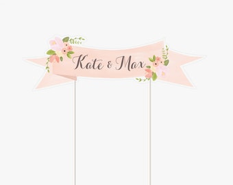 Floral Wedding Cake Topper Printable Customized with names Mini Banner by Itsy Belle