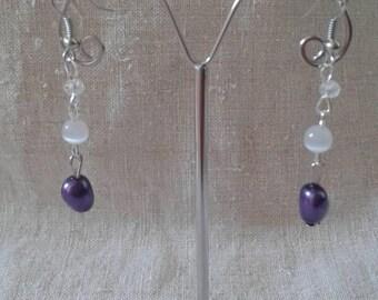 """harmony of white and purple"" earrings"