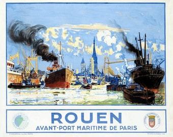 Vintage French Railways Rouen Tourism Poster  A3 Print