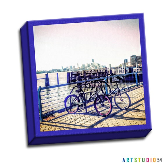 "New York City Skyline Bicycle - Blue Red Gray -  6""x6"" to 36""x36"" - 1.25"" Deep - Gallery Wrapped Canvas - artstudio54"