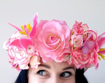 Flower Crown floral wreath halo garland headdress headpiece pink tropical Fairy bridal boho wedding festival