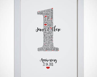 Personalised Wedding Anniversary Typography Word Wall Art Picture Print Wife Husband Anniversary Gift
