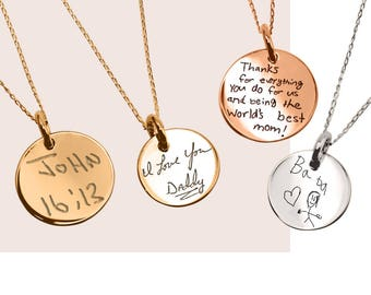 Silver Necklace Actual HandWriting Jewelry Personalized jewelry Custom Jewelry HandWriting Custom hand writing Signature necklace mom gift