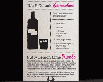 Printable Fun Cocktail Party Recipe Cards - Nutty Lemon Lime Rumba - Girls Night In or Bachelorette Party Ideas - Instant Download - Unique
