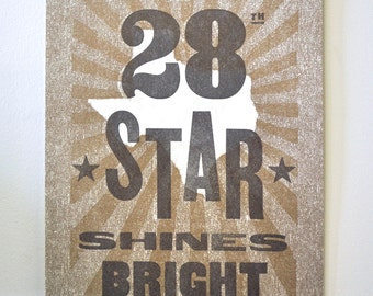 28th Star, Texas Letterpress Wood Type Print