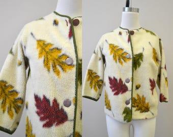 1950s Autumnal Leaf Fleece Jacket