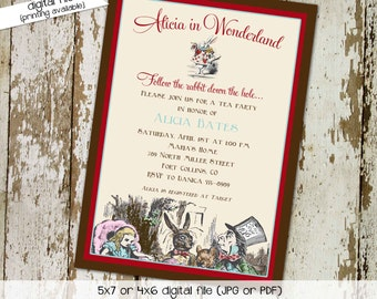 alice in wonderland invitation Couples baby shower floral baptism christening tea party birthday mad hatter stock the bar | 1430 Katiedid