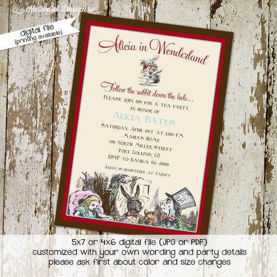 alice in wonderland invitation Couples Bridal Invitation floral christening invitation tea party birthday invitation 1430 Katiedid designs