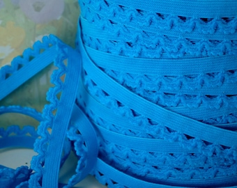 5yds Elastic Trim Picot Blue Turquoise 1/2 inch Skinny with Scallops for Headbands Sewing lingerie Single sided Edging Stretch elastic Picot