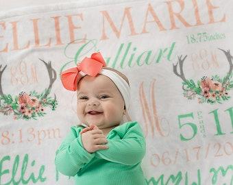 Antler Baby Blanket - Woodland Baby blanket - Deer Blanket - Baby Girl Girl - Woodland Nursery Decor - Boho Baby Blanket - Antler Swaddle