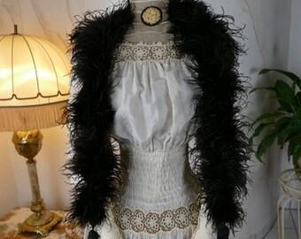1910 Black Marabu Feather Boa, antique boa, antique shawl