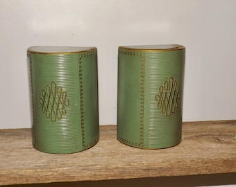 """Leather bookends,half moon,green leather,gold trim,ornate bookends,6"""" high,faux leather,embossed,library bookends,set of 2"""