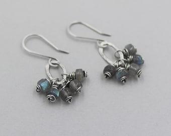 Labradorite Cluster Dangle Earrings, Funky, Rustic, Shimmery Gray, Oxidized Sterling Silver Wire Wrapped Gemstone Earrings, Small Hoop