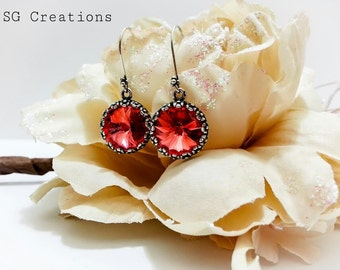 """Earrings """"Ginevra"""" with Padparadscha Swarovski Rivoli 14 mm and sterling silver hook - Gift for her"""