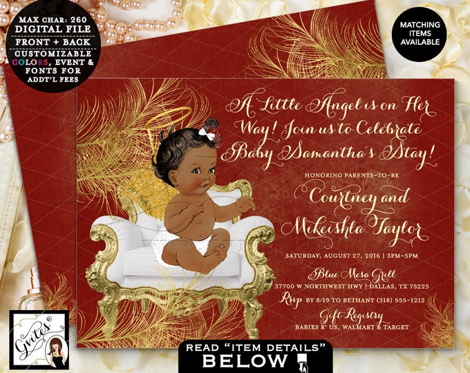 """Red and Gold Angel Baby Shower Printable Invitations, Baby Girl Ribbons, Gold Wings, White red gold invites, African American, 7x5"""" Gvites"""
