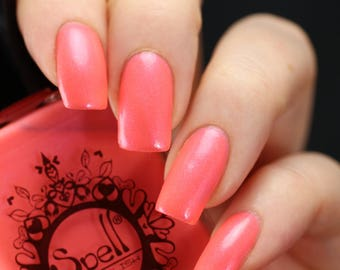 Spell Polish ~The Flaxen Fox~ coral crème shimmer nail polish!