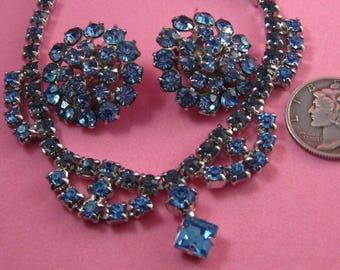 Vintage Rhinestone Demi Parure - Earrings and Necklace Set - Vintage Wedding Jewelry - Something Blue