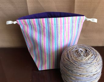 Rainbow, Reversible, Drawstring Yarn Cake bag