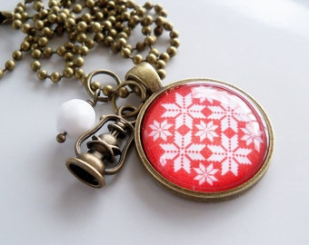 Nordic Pendant Necklace - Red and White - Fair Isle Design - Nordic Ornament - Scandinavian - Christmas Necklace - Holiday Gift - Norwegian