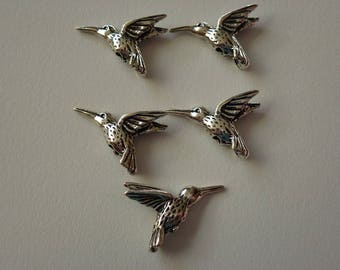 Double Sided Pewter Hummingbird Charms