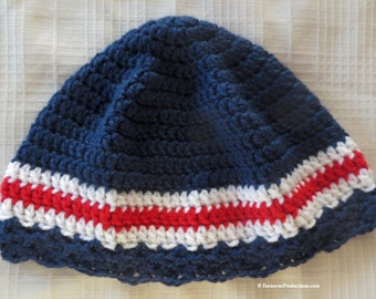 """Cloche Hat - Chemo Cap - 23"""" to 25"""" Adult M-L - Dark Blue White Red - Thinking Patriotic Reading Bad Hair Day - Designed Made USA Item 4291"""