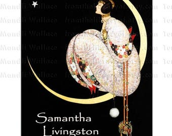 Wishing On A Star - Vogue Cover Altered - Vintage Style Bookplate -   Adhesive Personalized bookplates - Moon, woman, star, night