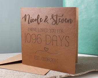 3 Year Anniversary, Personalised Leather, 1096 Days, Time Card