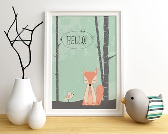 Fox art print,  Giclee Art Print, woodland, archival art print, Hello Fox