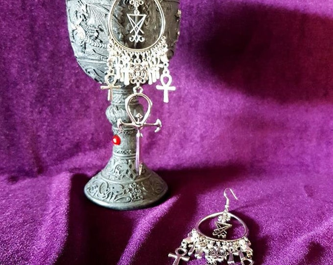 Vampire Ankh Luciferian Earrings - occult goth gothic dracula order nosferatu vampyre  vampire symbol sigil of lucifer
