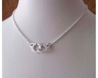 Minimalist necklace plated silver handcuff and chain